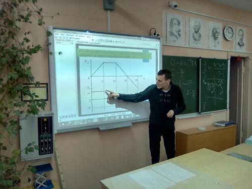 Приемы работы с графиками показывает учитель Санников А.В.